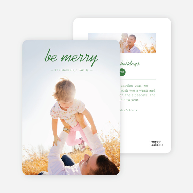 Be Merry Multi Photo Holiday Cards - Green