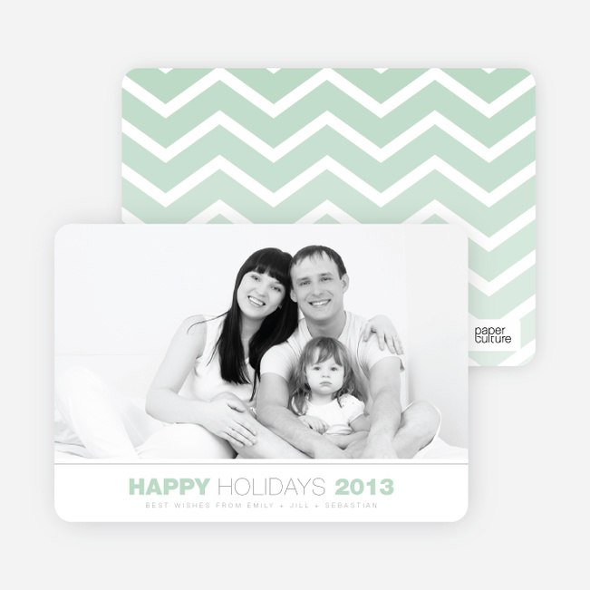 Chevron Winter Stripes Happy Holidays Cards - Green
