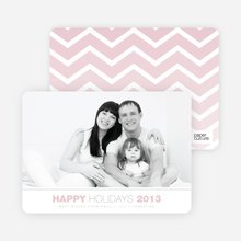 Chevron Winter Stripes Happy Holidays Cards - Pink