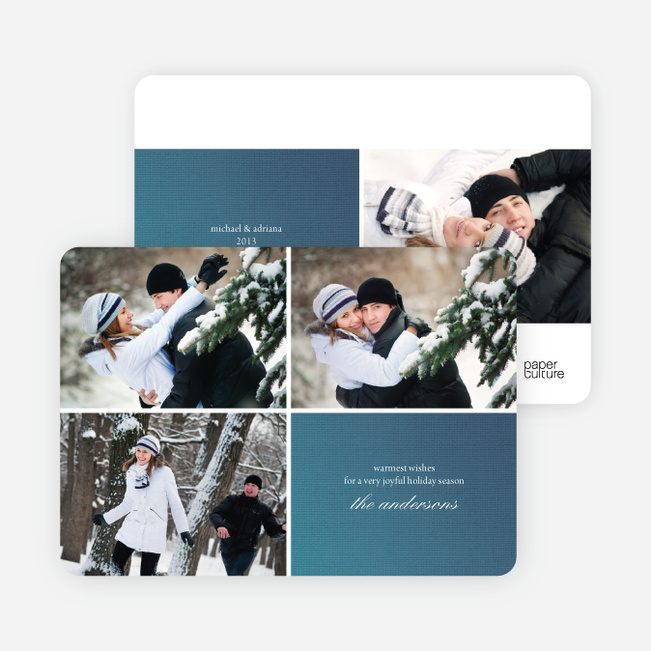 Fabric Circles Holiday Photo Cards - Cobalt Blue