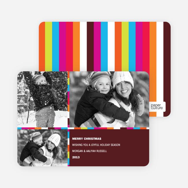 Holiday Greeting Cards: Rainbow Stripes - Chocolate