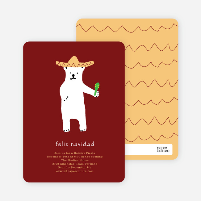Fiesta Bear Holiday Invitations - Sangria