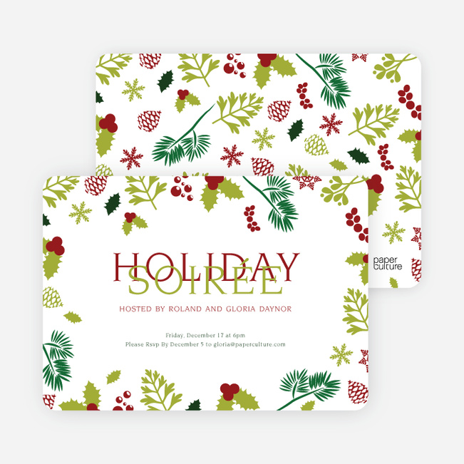 Holiday Soiree Party Invitations - Green