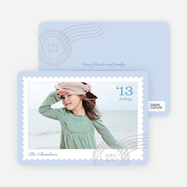 Holiday Cards: Stamps - Blue