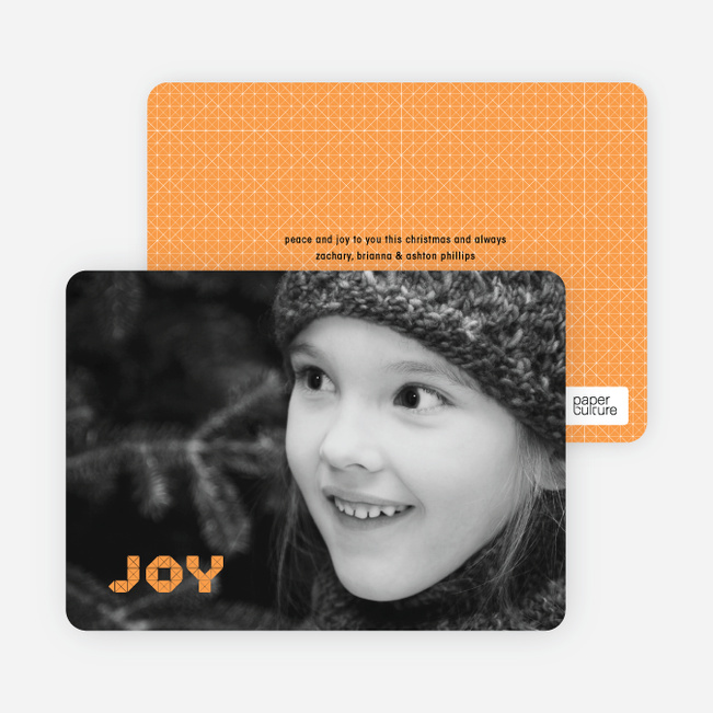Joy Modern Holiday Photo Card - Pumpkin Orange