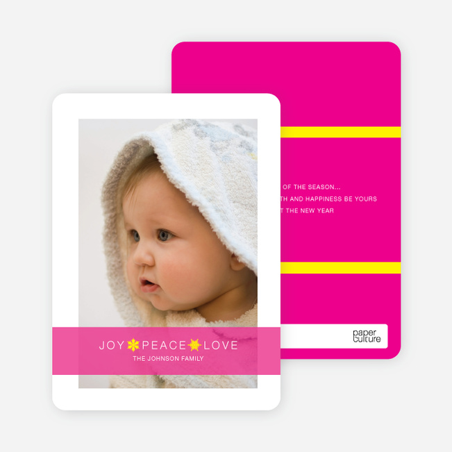 Christmas Cards: Joy, Peace & Love - Shocking Pink
