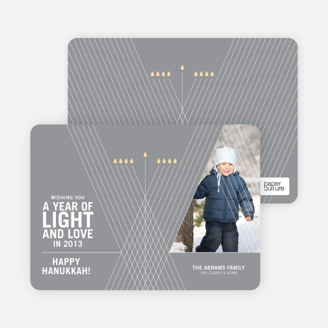 Light and Love Hanukkah Cards - Silver