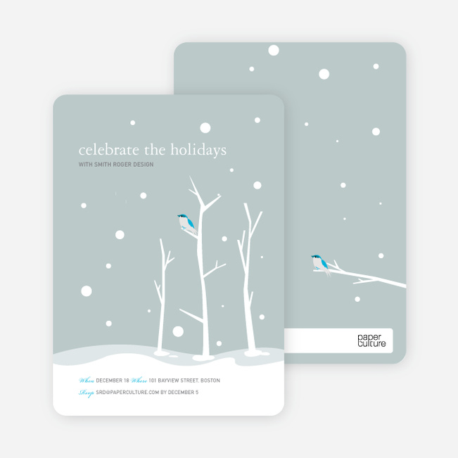 Lone Sparrow Holiday Invitations - Pale Sage