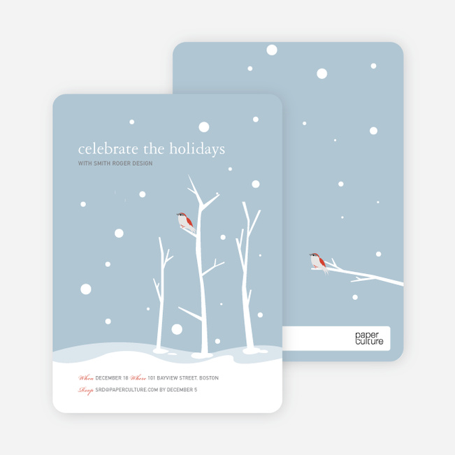 Lone Sparrow Holiday Invitations - Mystic Blue