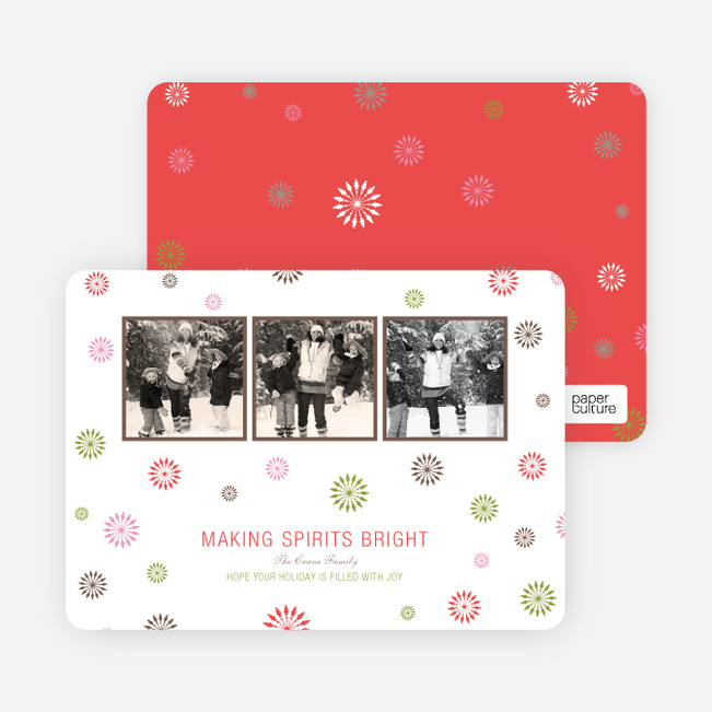 Making Spirits Bright Holiday Photo Cards - Orange Red