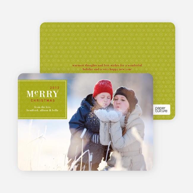 Merry Christmas Badge – Modern Holiday Photo Card - Lime Green