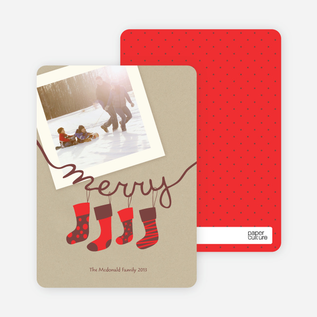 Merry Stockings Holiday Photo Cards - Paprika