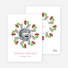 Mistletoe and Holly Wreath Christmas Cards - Cherry