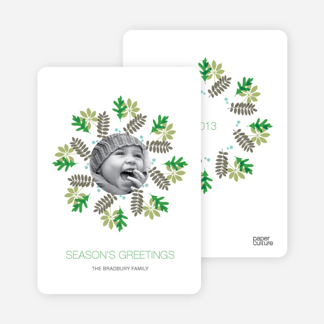 Mistletoe and Holly Wreath Christmas Cards - Shamrock