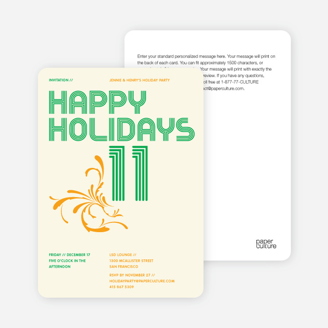 Modern and Retro Happy Holidays Splash Cards - Kelly Green
