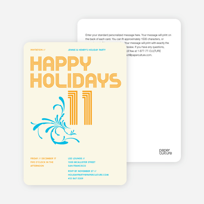 Modern and Retro Happy Holidays Splash Cards - Pumpkin Orange