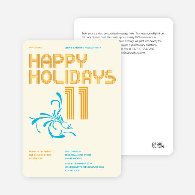 Modern and Retro Happy Holidays Splash Cards - Pumpkin Orange