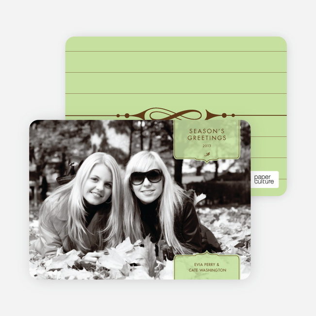Modern Traditionalist Holiday Photo Cards - Honeydew
