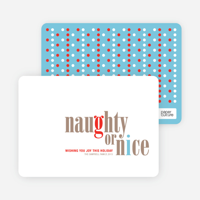 Naughty or Nice Holiday Cards - Pebble