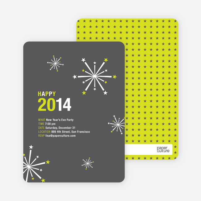 New Year's Fireworks New Year's Invitations - Slate Grey