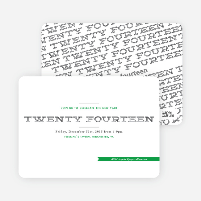 New Year's Party Invitation Proclamation - Green