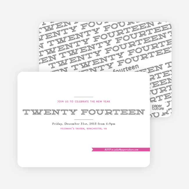 New Year's Party Invitation Proclamation - Pink