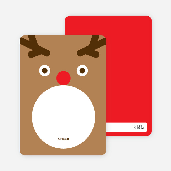 Note Cards: 'Rudolph Face' cards. - Tan Brown