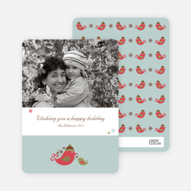 Parent and Child Holiday Photo Cards - Pomegranate