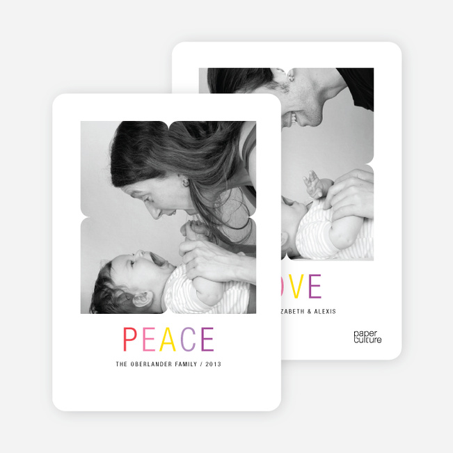 Peace and Love Holiday Photo Cards - Red