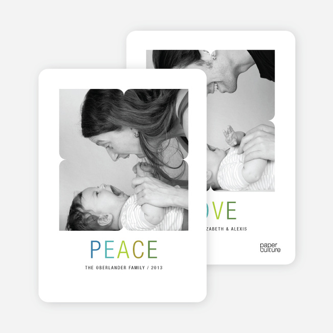 Peace and Love Holiday Photo Cards - Blue