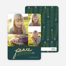 Peace and Love through Mistletoe Holiday Cards - Blue
