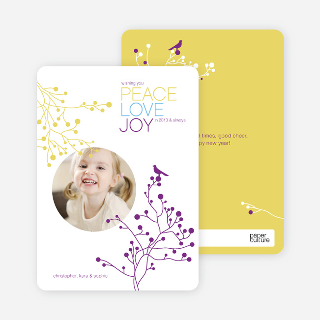 Peace Love Joy Holiday Photo Cards - Royal Purple