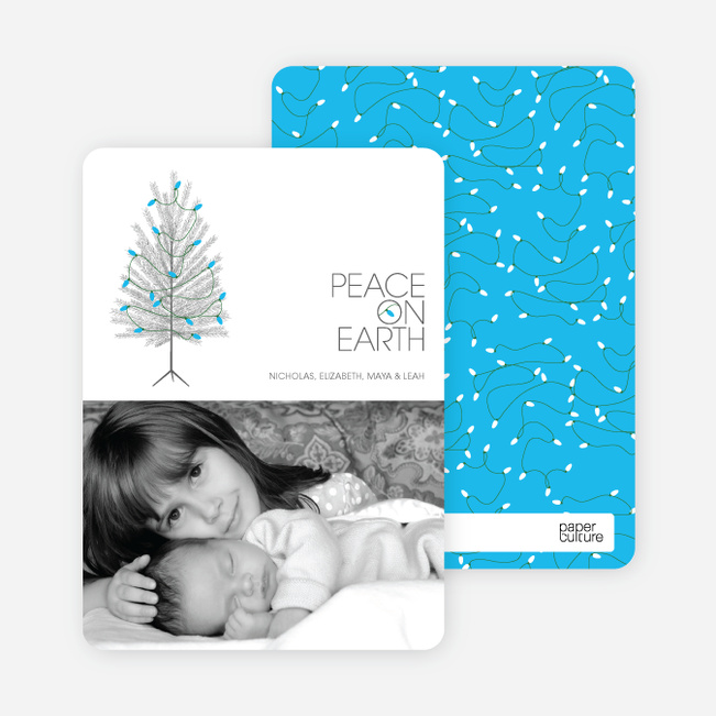 Christmas Tree Holiday Cards: Peace on Earth - Royal Blue
