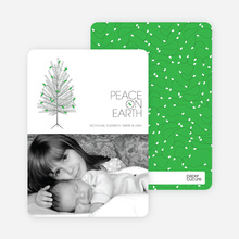 Peace on Earth Holiday Christmas Tree Cards - Kelly Green