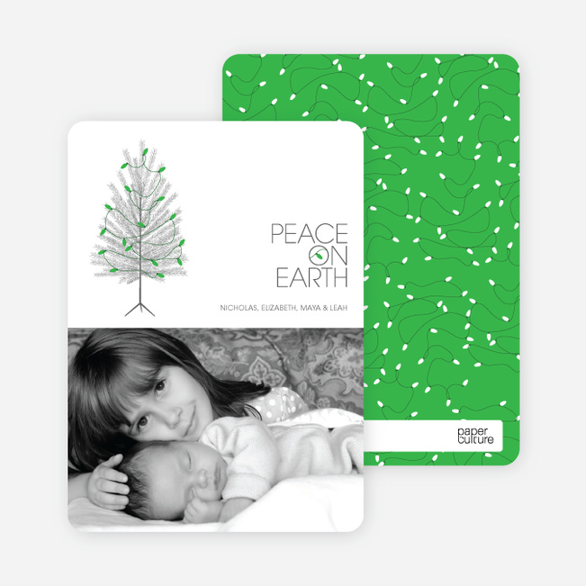 Christmas Tree Holiday Cards: Peace on Earth - Kelly Green