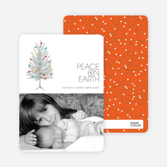Christmas Tree Holiday Cards: Peace on Earth - Pomegranate