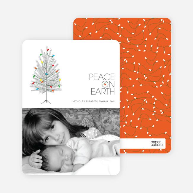 Peace on Earth Holiday Christmas Tree Cards - Pomegranate