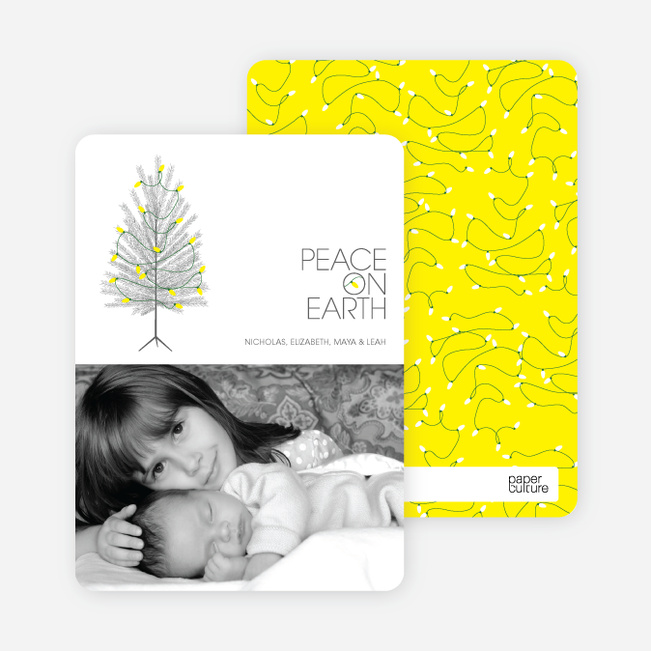Peace on Earth Holiday Christmas Tree Cards - Banana Yellow