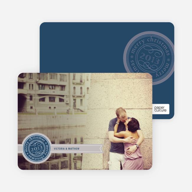 Personalizable Ribbon Seal Christmas Card - Navy