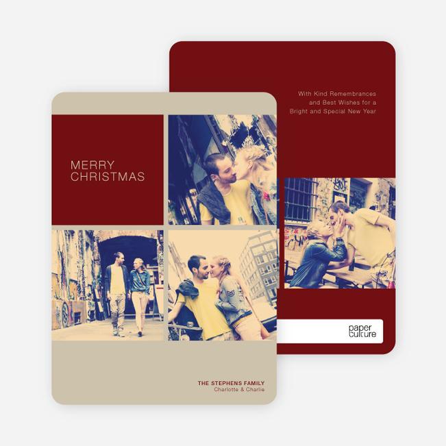 Photobooth Holiday Photo Cards - Burgundy
