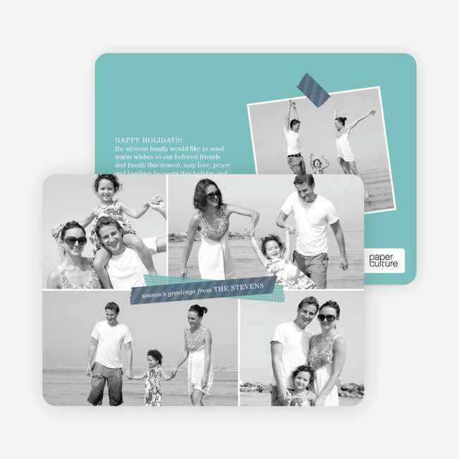 Picture Collage Holiday Photo Card - Blue