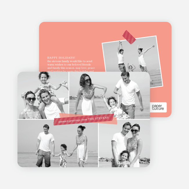 Picture Collage Holiday Photo Card - Red