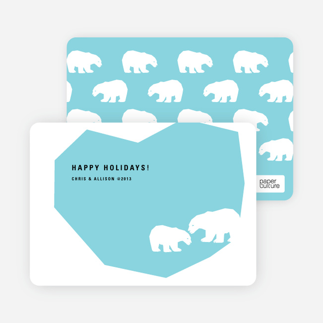 Polar Bear Happy Holidays Cards - Baby Blue