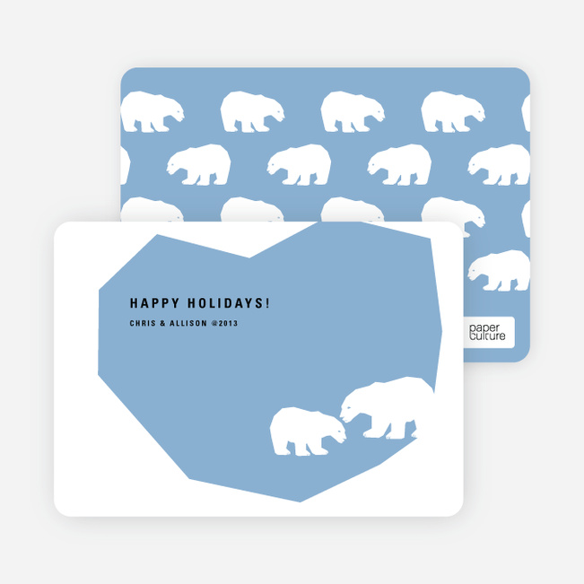 Polar Bear Happy Holidays Cards - Periwinkle