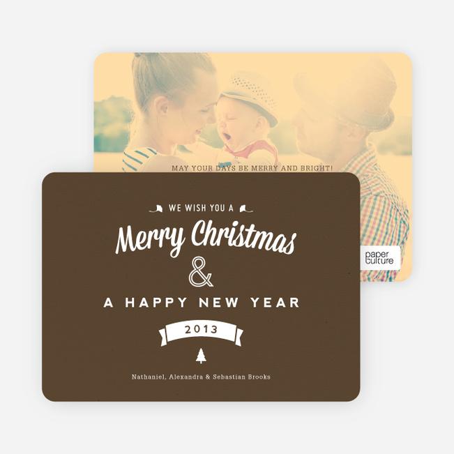 Retro Merry Christmas Cards - Brown
