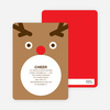 Rudolph the Red Nosed Reindeer Holiday Invitation - Tan Brown