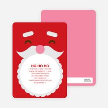 Santa Claus Christmas Card and Party Invitation - Fire Engine Red