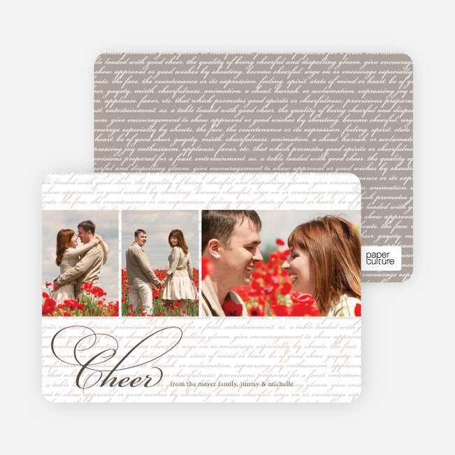 Cheer Script Holiday Photo Cards - Walnut