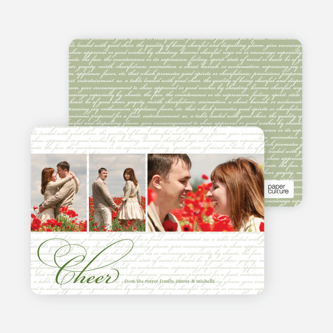 Cheer Script Holiday Photo Cards - Lily Pad