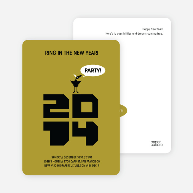 Chic New Year's Eve Party Bird Invitations - Khaki Yellow
